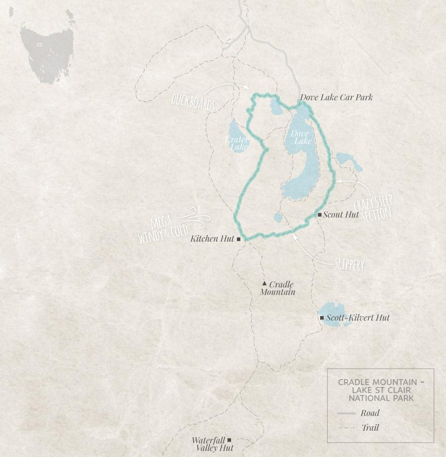 Cradle Mountain Hikes Tasmania Kitchen Hut via Hansons Peak Map